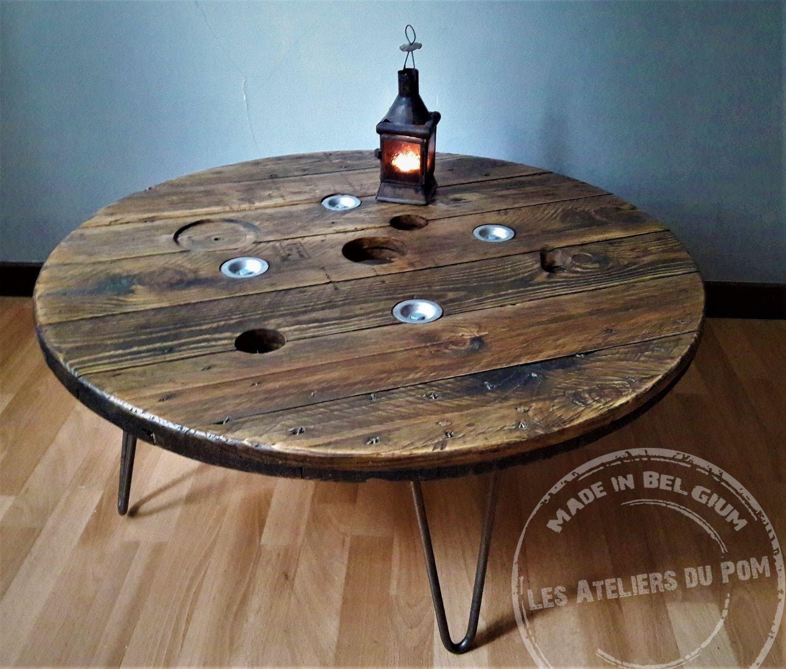 Table Industriel A Partir D Un Touret Les Ateliers Du Pom