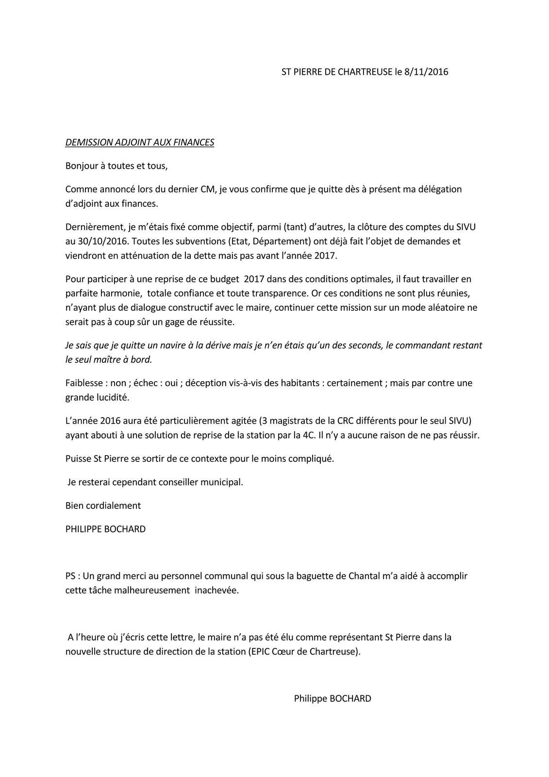 Démission de son poste d'adjoint aux finances de Philippe BOCHARD !
