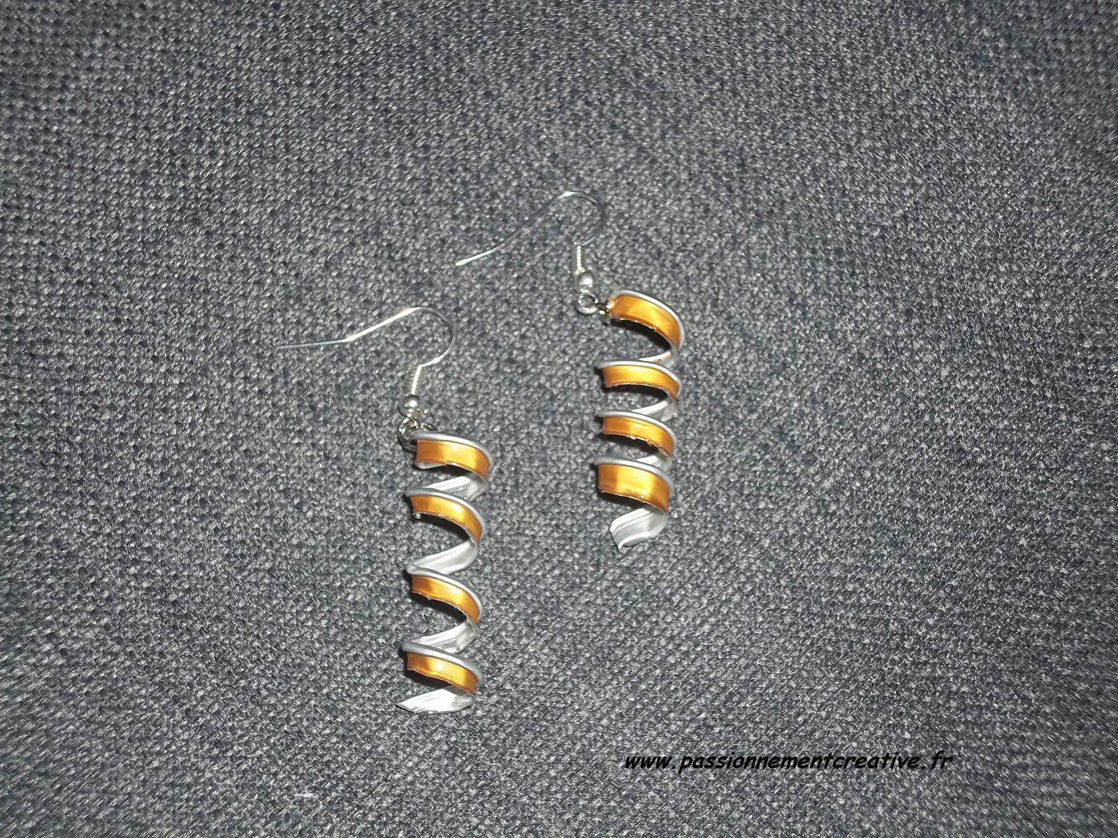 Boucles d'oreilles tortillon en capsules de café