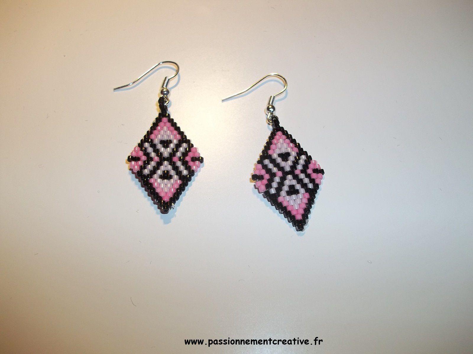 Boucles d'oreilles ethniques roses