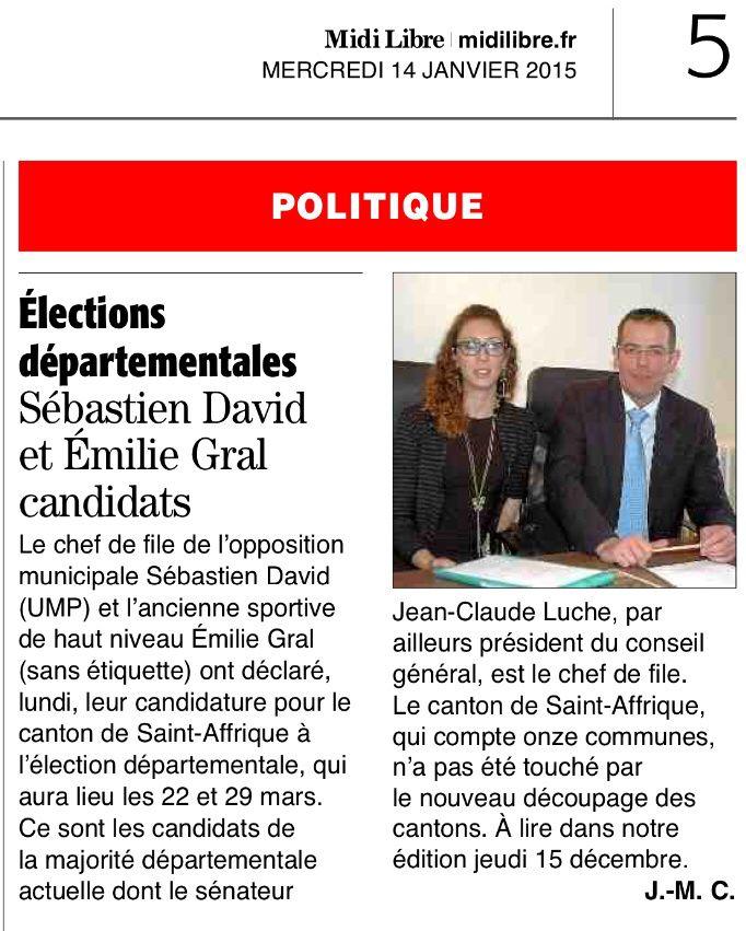 Élections Départementales : candidature de Sébastien David et d'Emilie Gral en tandem