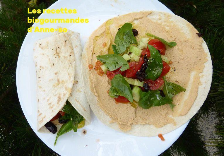 Wrap végétarien houmous, crudités