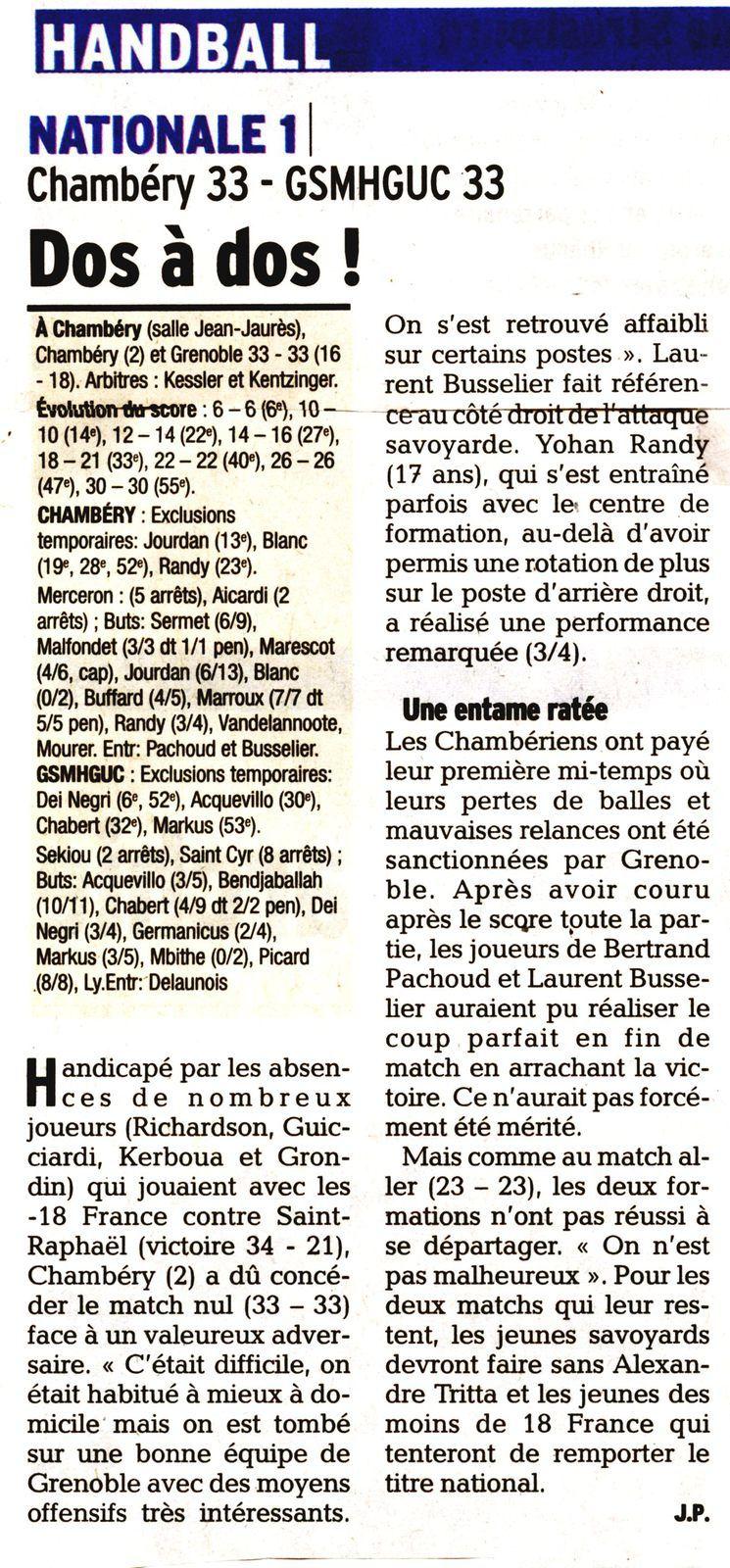 Article du DL N1 CHAMBERY - GRENOBLE 4 mai 2014