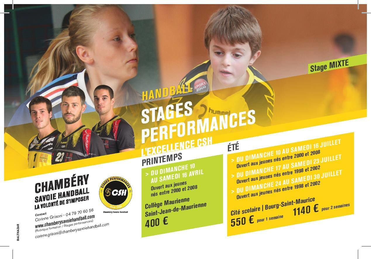 Les stages du CHAMBERY SAVOIE HANDBALL