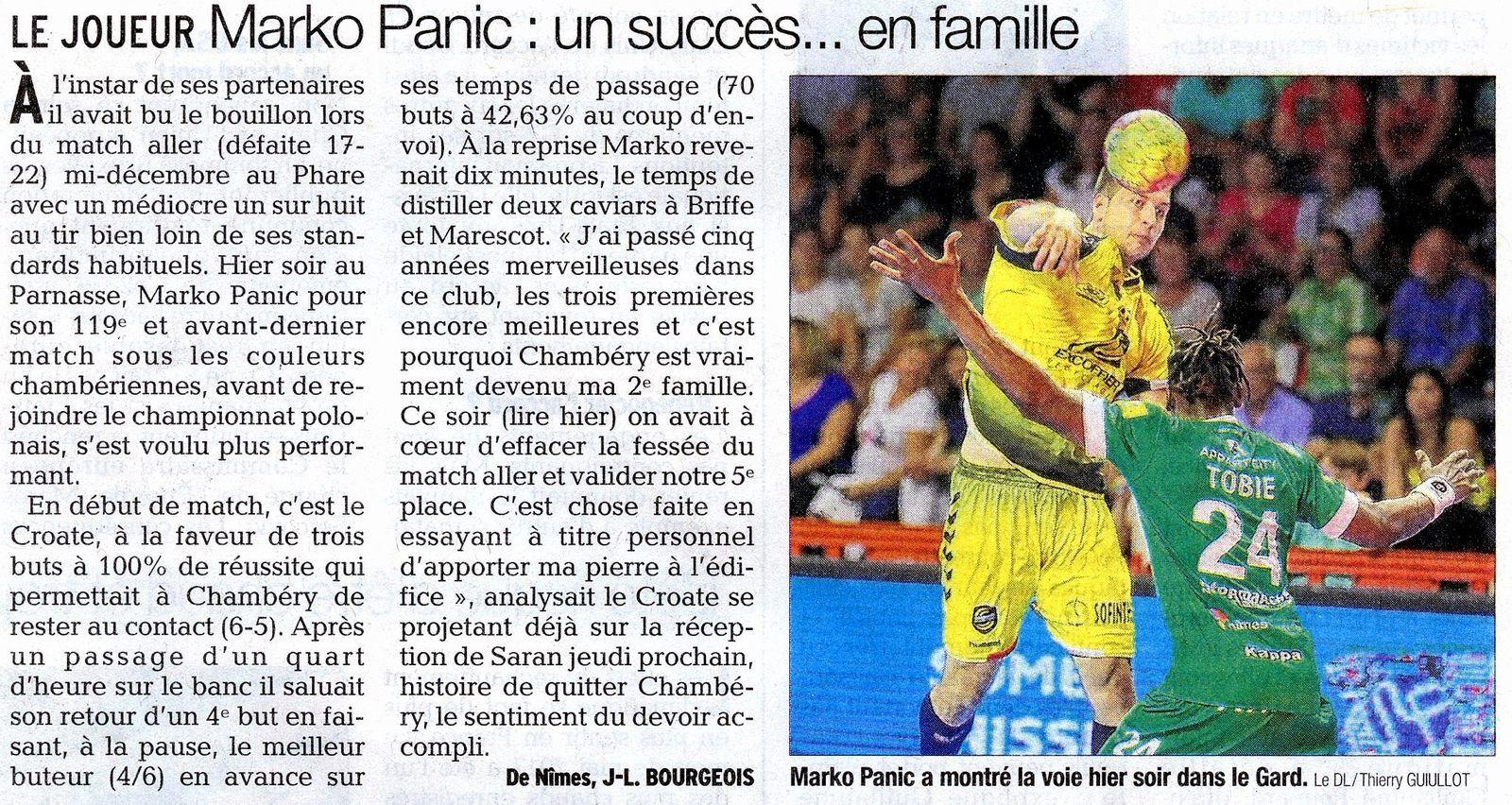Pour Marko Panic la victoire contre Nîmes...un succès.. en famille