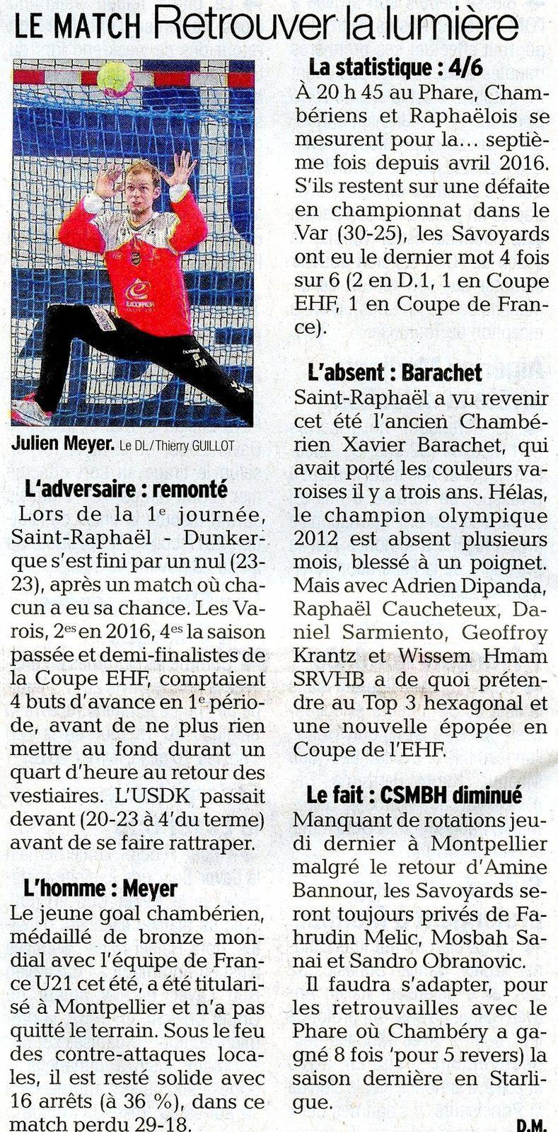 LSL Le match retrouver la lumière article du DL avant CHAMBERY -St RAPHAËL