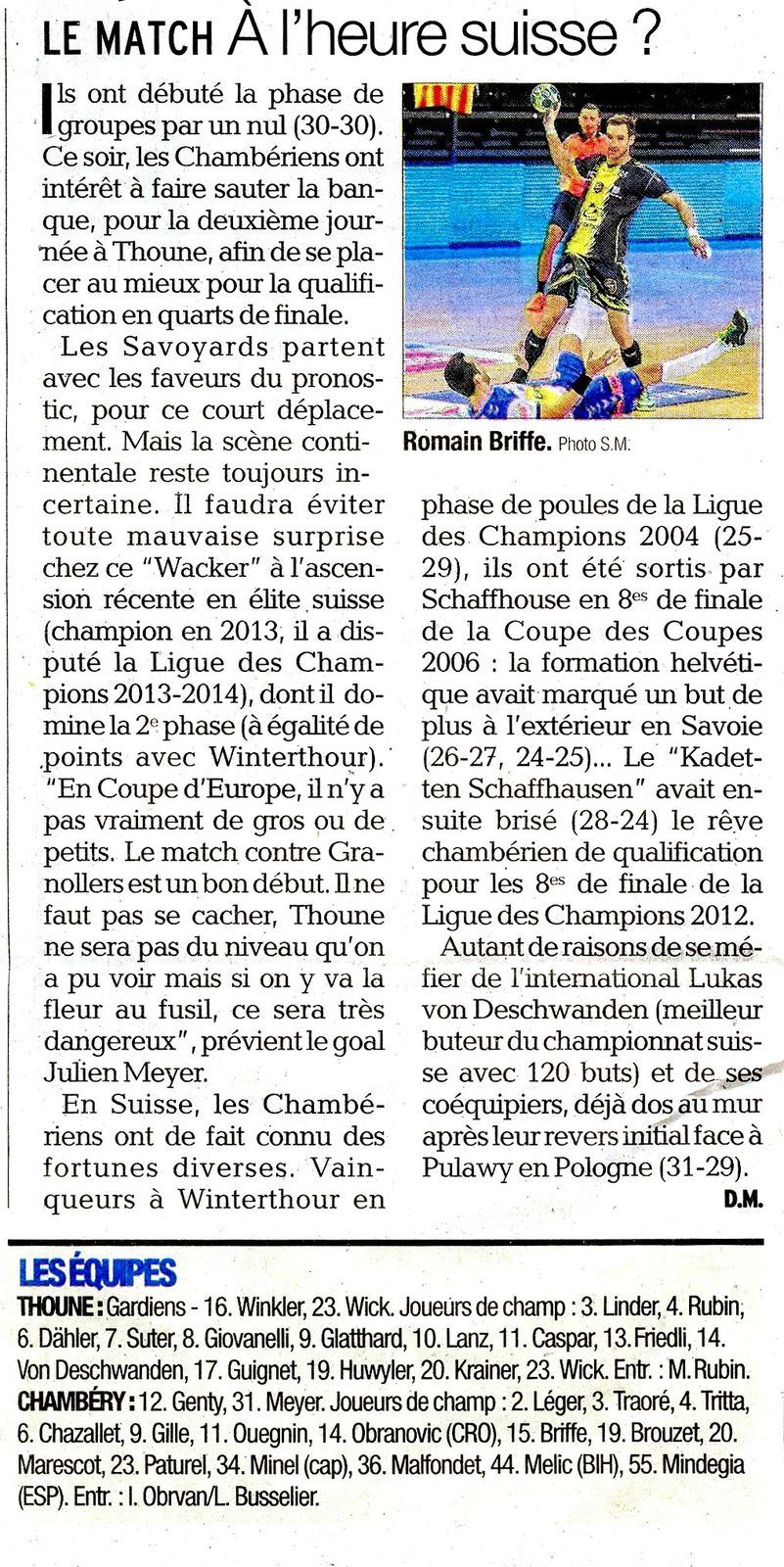 EHF un match à l'heure Suisse, article du DL 17022018