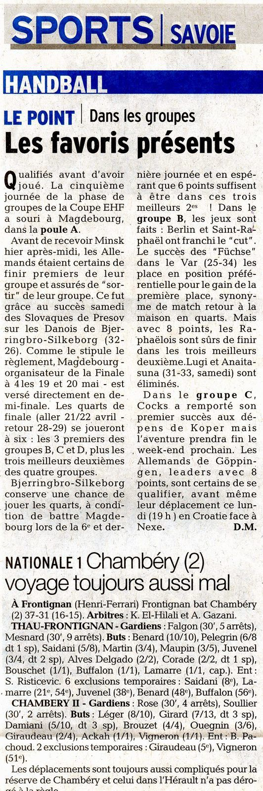 EHF le point sur les groupes article DL du lundi 26 mars  2018