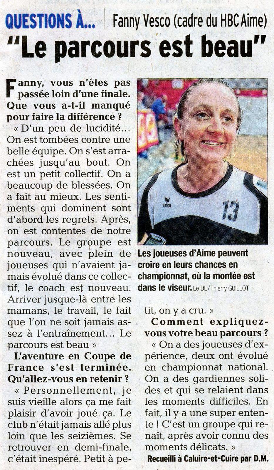 Article DL CDF le parcours est beau explique Fanny Vesco du club du HBC AIME