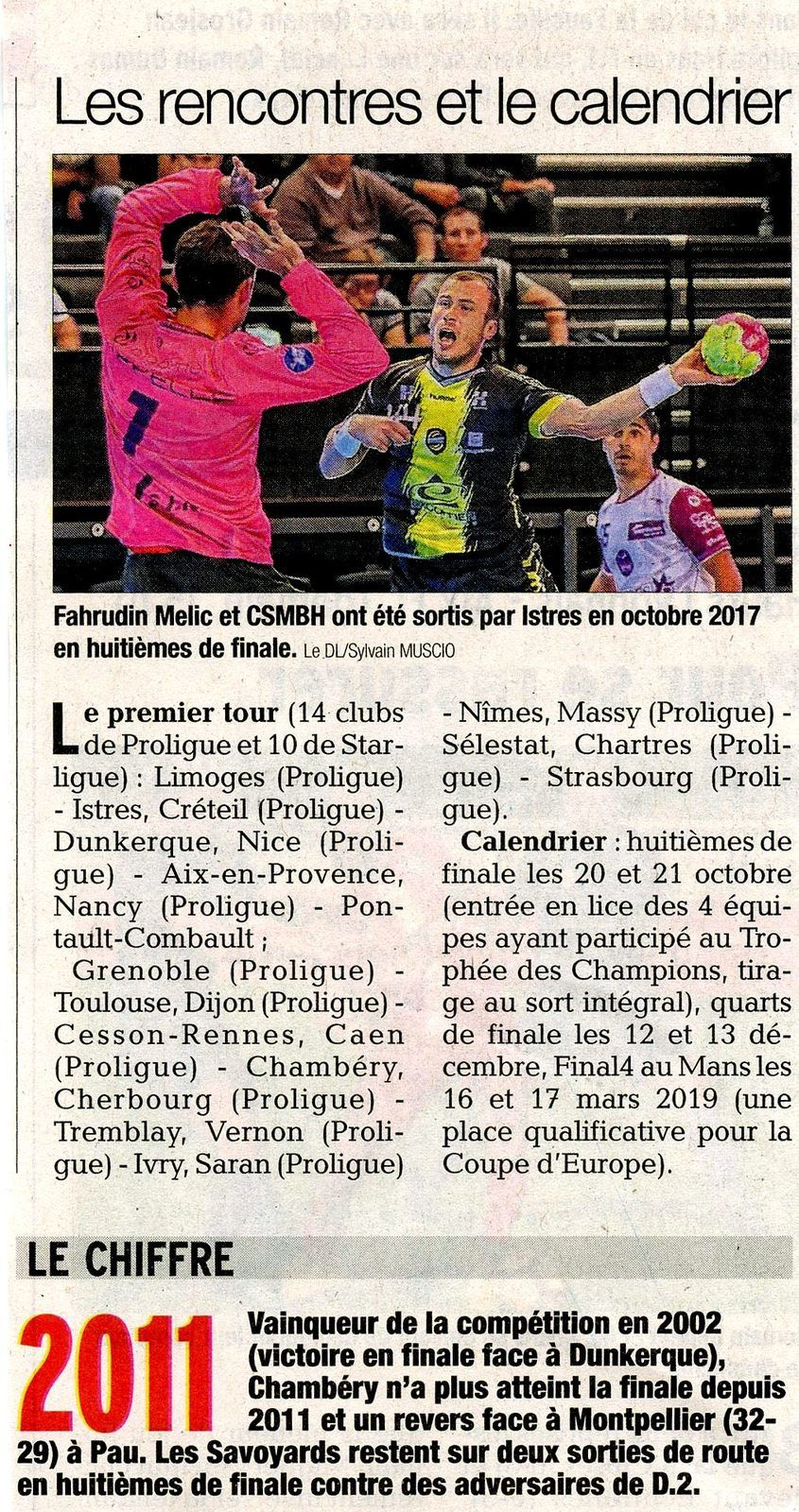 Coupe de la ligue les rencontres et le calendrier article DL 08/09/2018