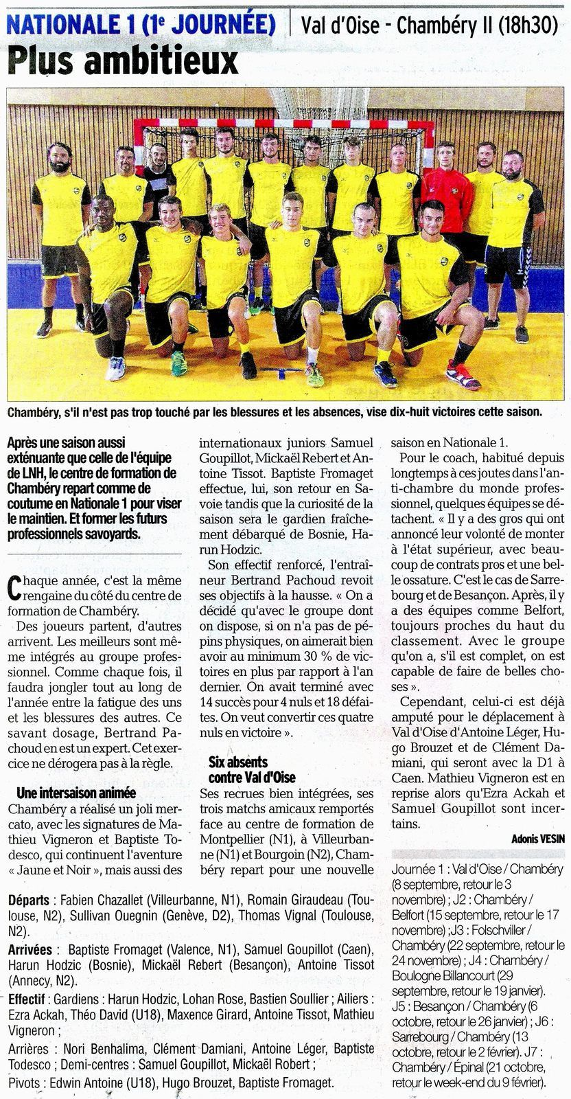 N1 ELITE VAL D'OISE - CHAMBERY2 article du DL 8 septembre 2018