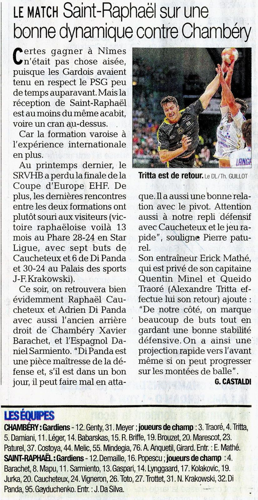 LSL CHAMBERY - SAINT-RAPHAËL article du DL avant match 18 octobre 2018