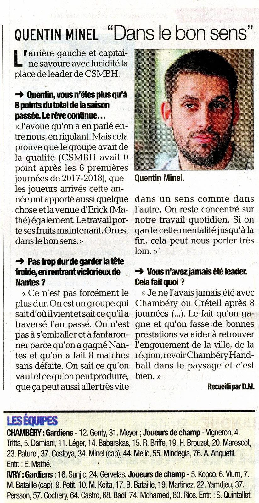 LSL article sur Quentin MINEL avant CHAMBERY - IVRY 14112018