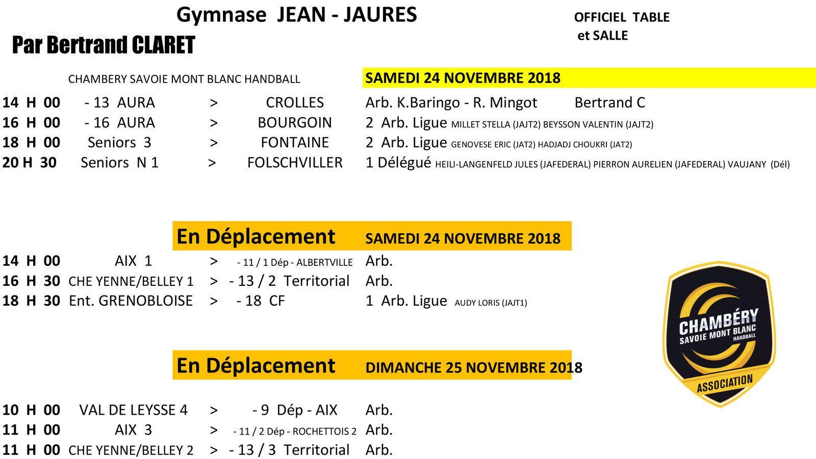 Planning des matchs CHAMBERY amateur week-end du 24  et 25 novembre 2018 par Bertrand CLARET