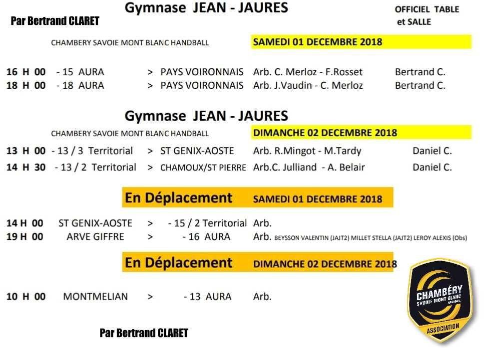CHAMBERY amateur les matches du 1er et 2 décembre 2018 par Bertrand CLARET