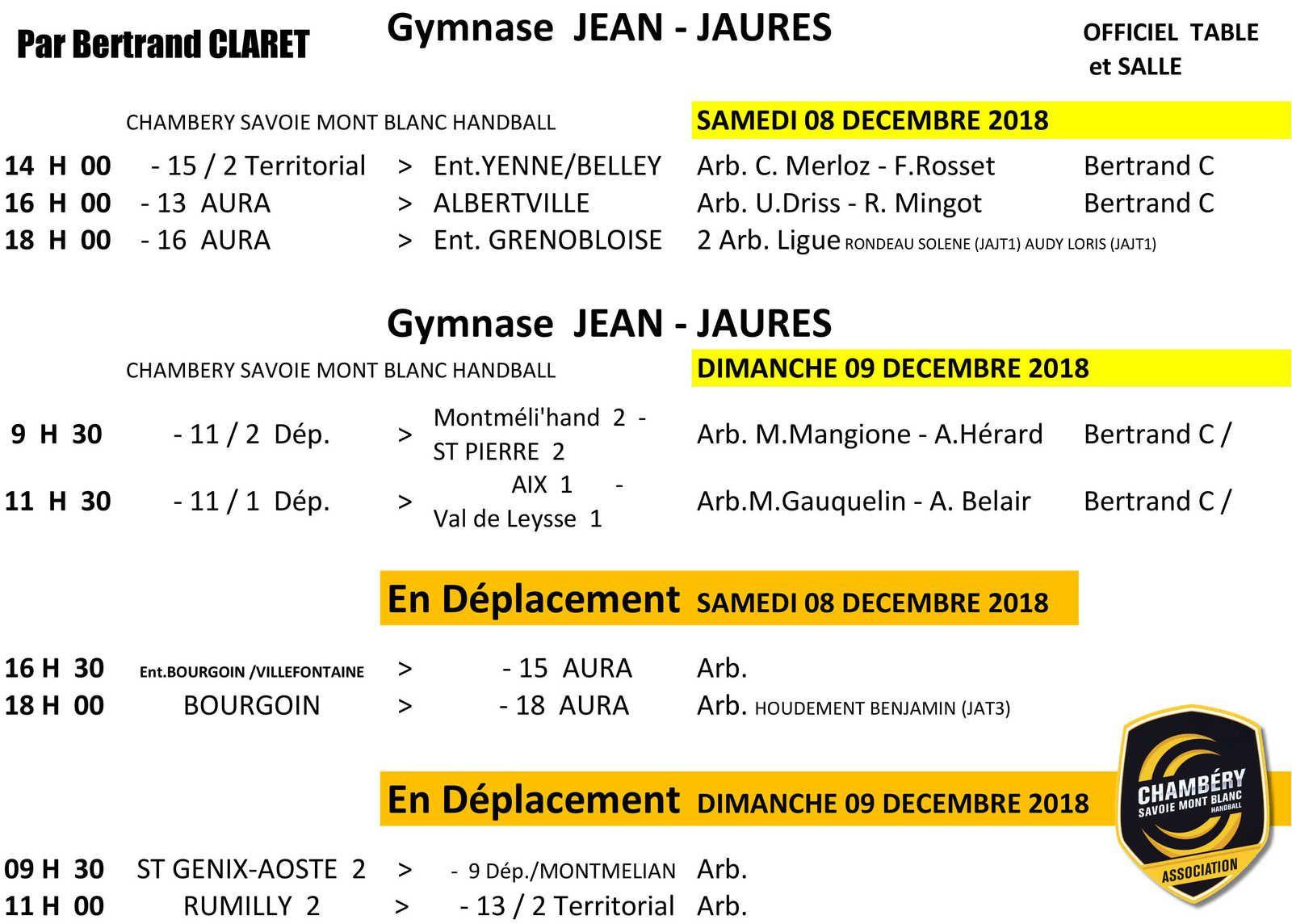 CHAMBERY amateur les rencontres du week-end 8 et 9 décembre 2018 par Bertrand CLARET