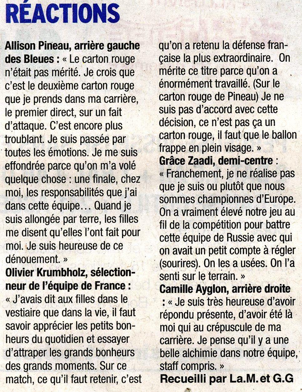 Article DL EURO féminin après la finale FRANCE - RUSSIE 17 décembre 2018