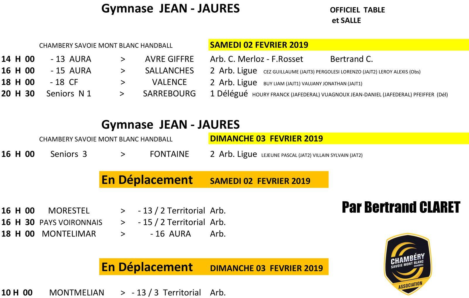 CHAMBERY amateur planning des matches week-end du 2 et  3 février par Bertrand CLARET