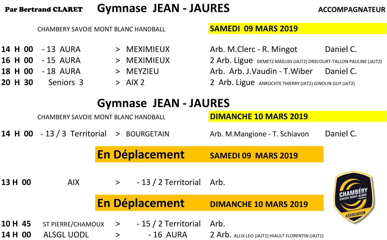 CHAMBERY amateur le planning des matchs du week-end 9 et 10 mars 2019 par Bertrand CLARET