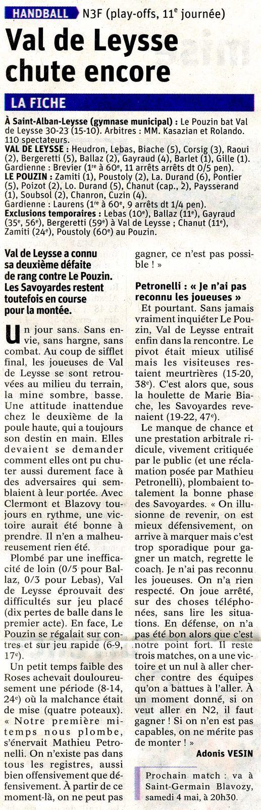 Article du DL après N3F VAL DE LEYSSE LE POUZIN lundi 15 avril 2019 par Adonis VESIN