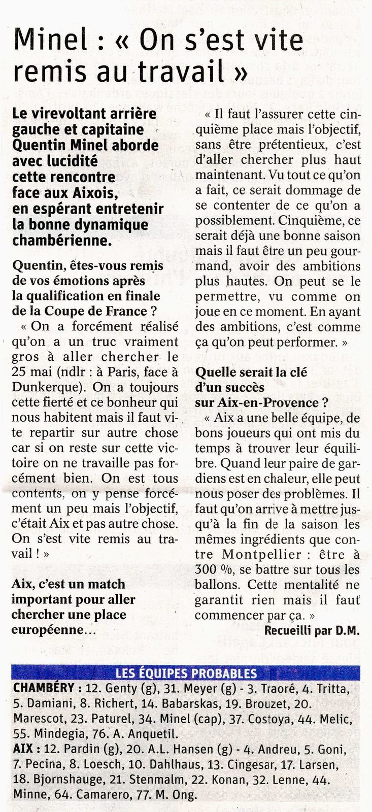 Article DL Quentin MINEL aborde le match CHAMBERY - AIX 18 avril 2019
