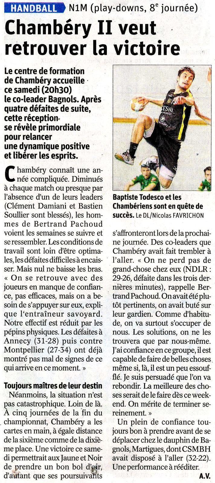 N1 Article du DL avant le match CHAMBERY2 - BAGNOLS du samedi 4 mai 2019 par Adonis VESIN