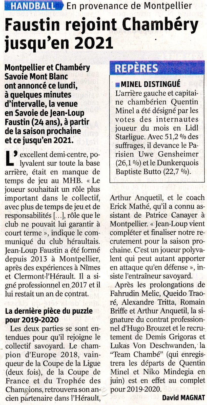 Article DL sur l'arrivée de Jean-Loup FAUSTIN 7 mai 2019