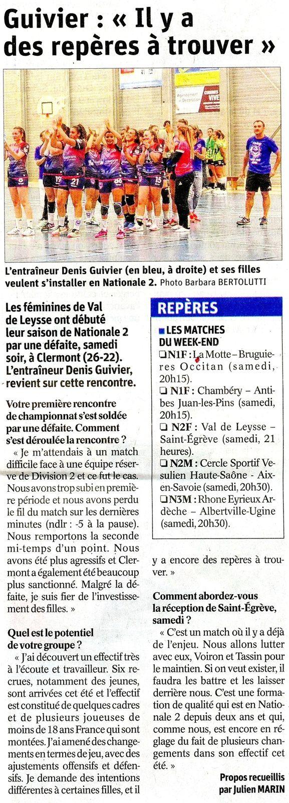 N2F Article du DL après la rencontre VAL DE LEYSSE - CLERMONT mardi 17 septembre 2019