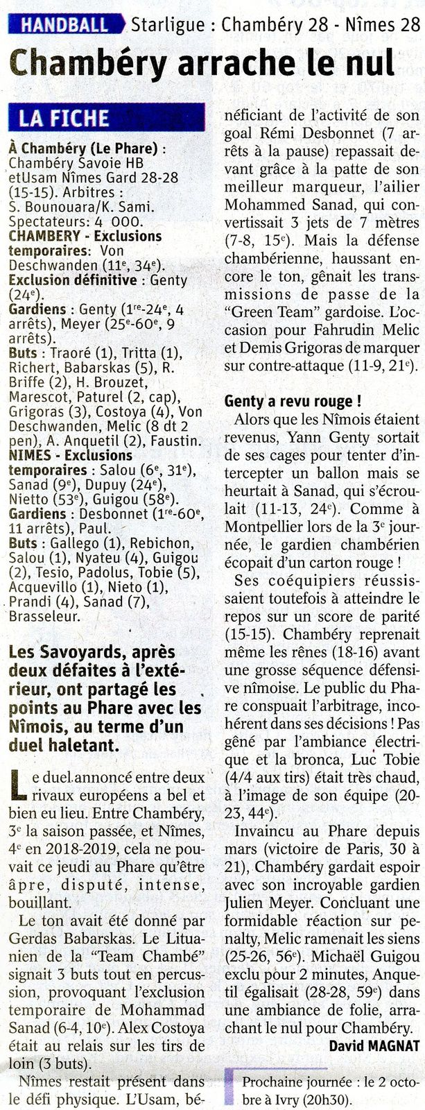 Article DL LSL après CHAMBERY - NÎMES 27 septembre 2019 par David MAGNAT