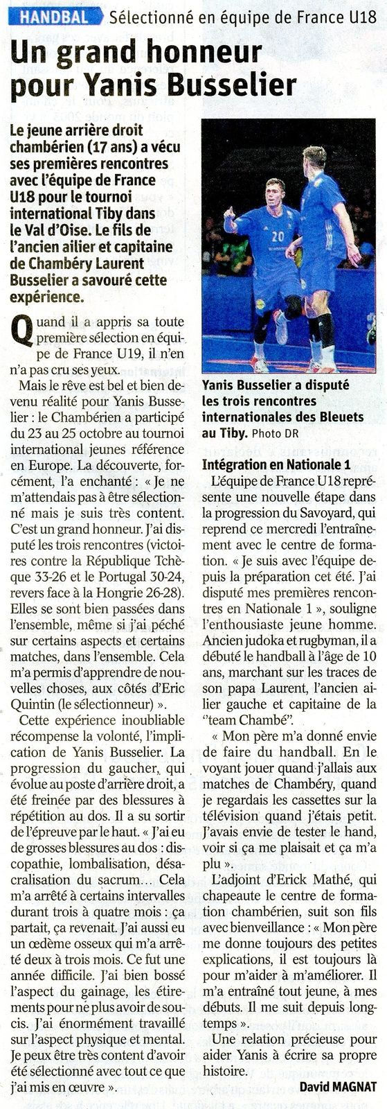 Yanis BUSSELIER en EDF U18 l'article du DL par David MAGNAT mercredi 30 octobre 2019