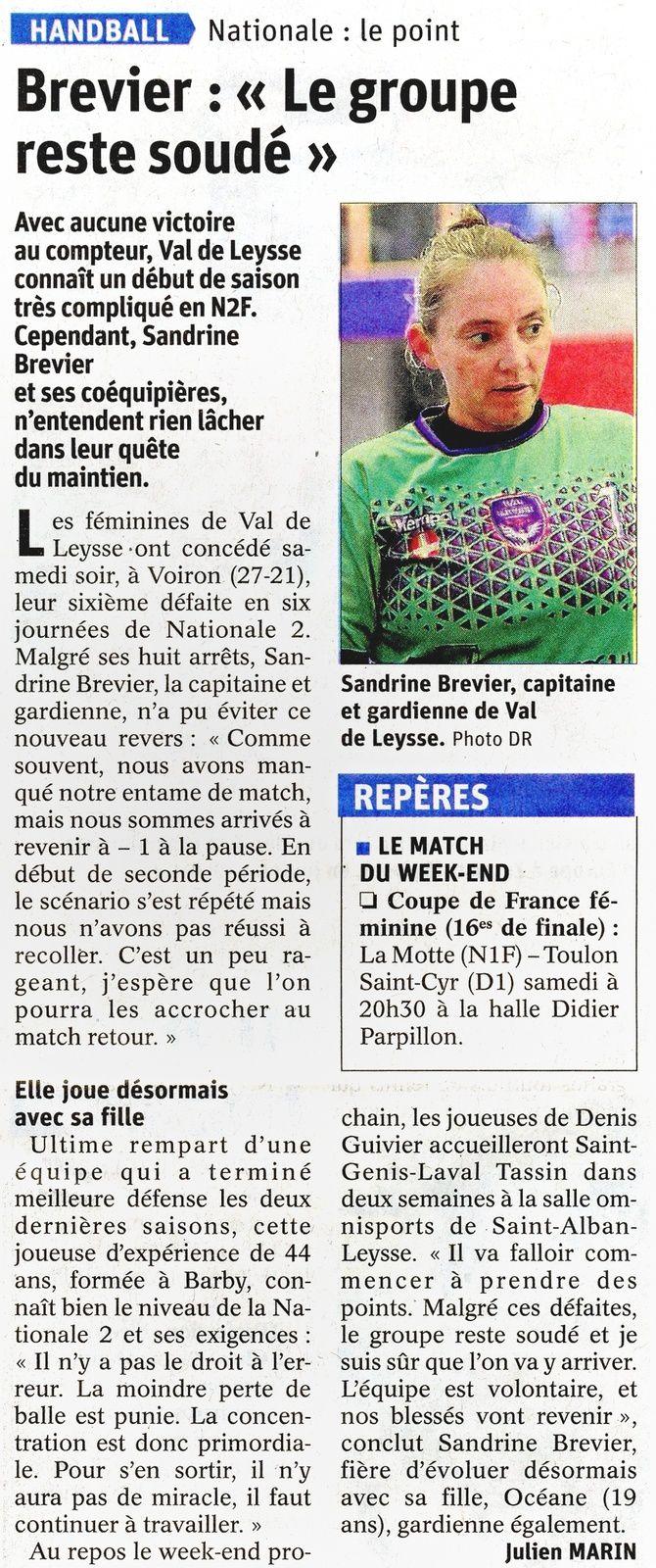 N2F VAL de LEYSSE pour Sandrine BREVIER le groupe reste soudé / Article du DL