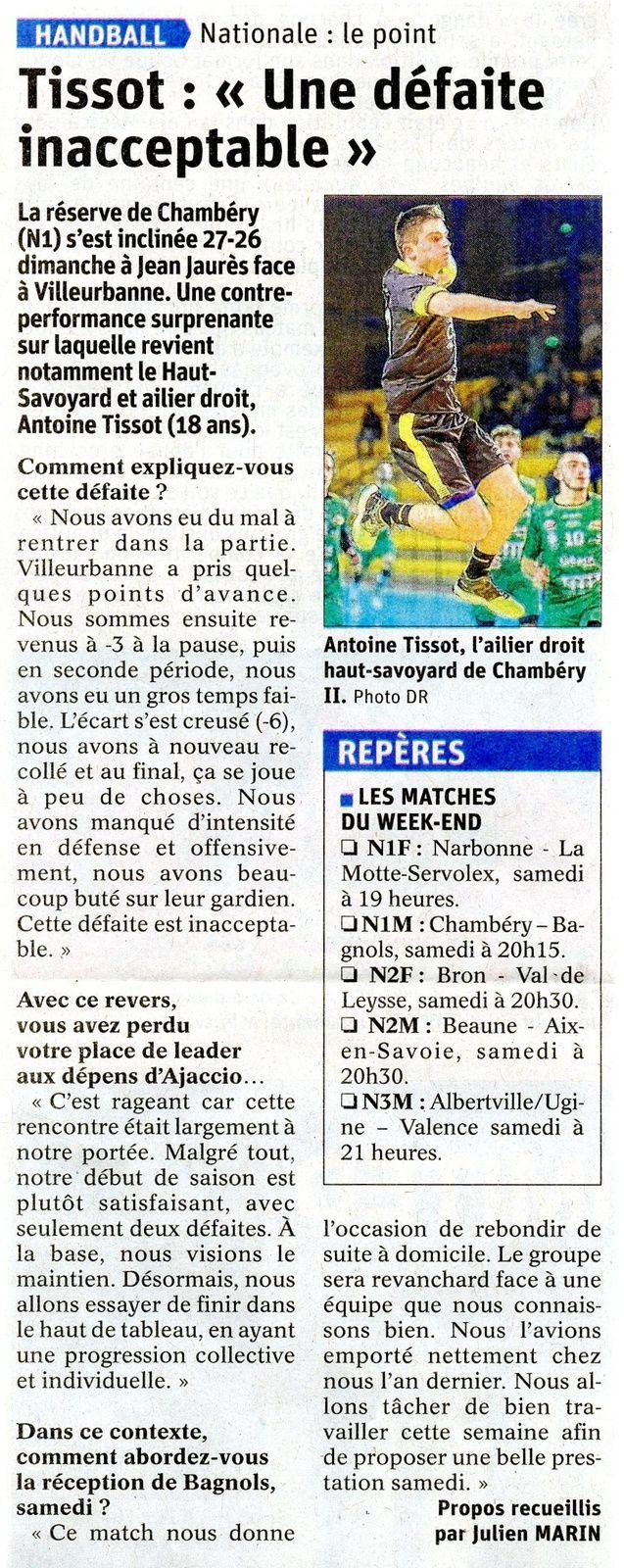 N1M Article du DL après CHAMBERY - VILLEURBANNE par Julien MARIN 26112019
