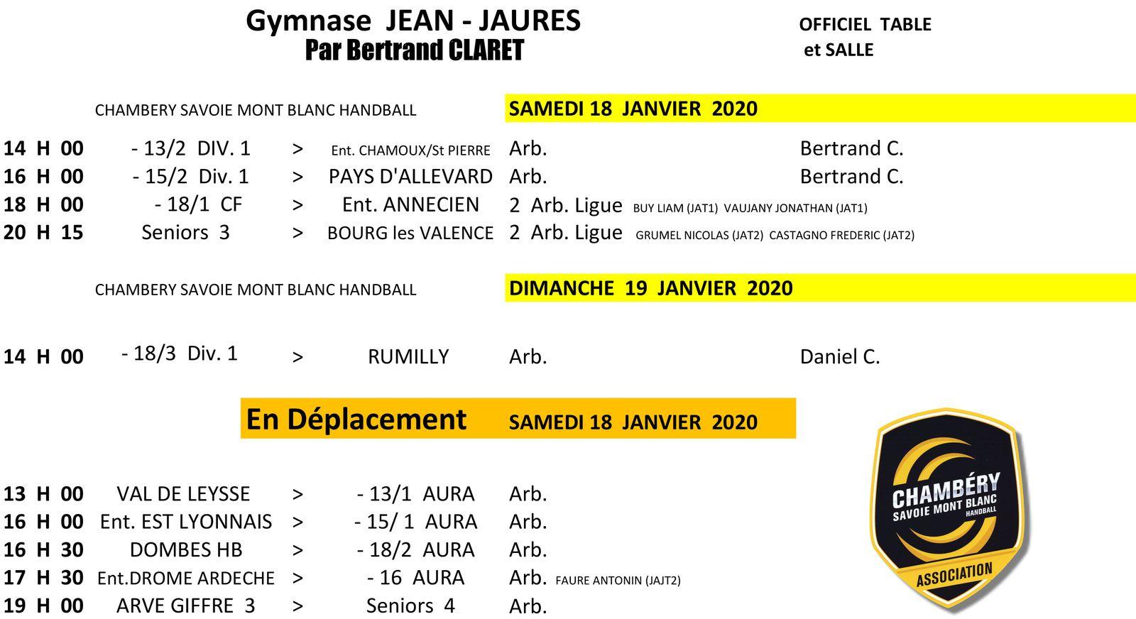 CHAMBERY amateur le planning des matchs du WEEK-HAND 18 et 19 janvier 2020 par Bertrand CLARET.