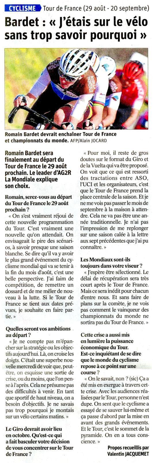 Romain BARDET sera bien au tour de France 2020, l'article du DL