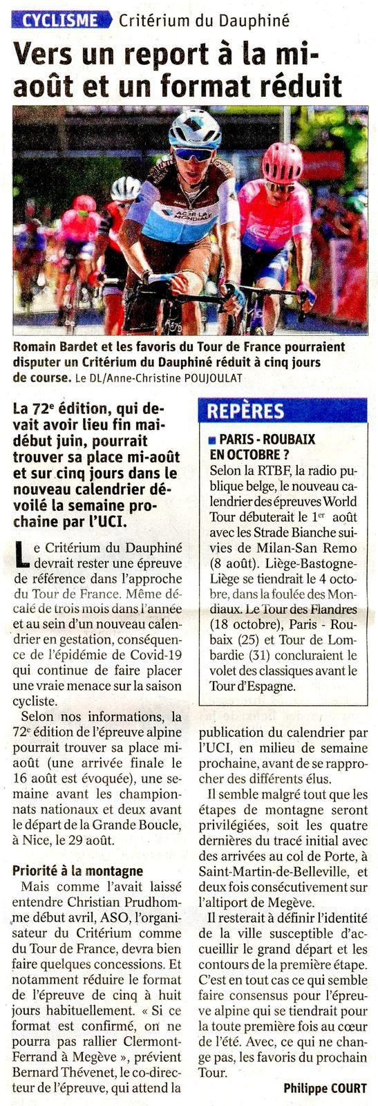 Cyclisme Le Critérium du DAUPHINE-LIBERE reporté l'article du DL