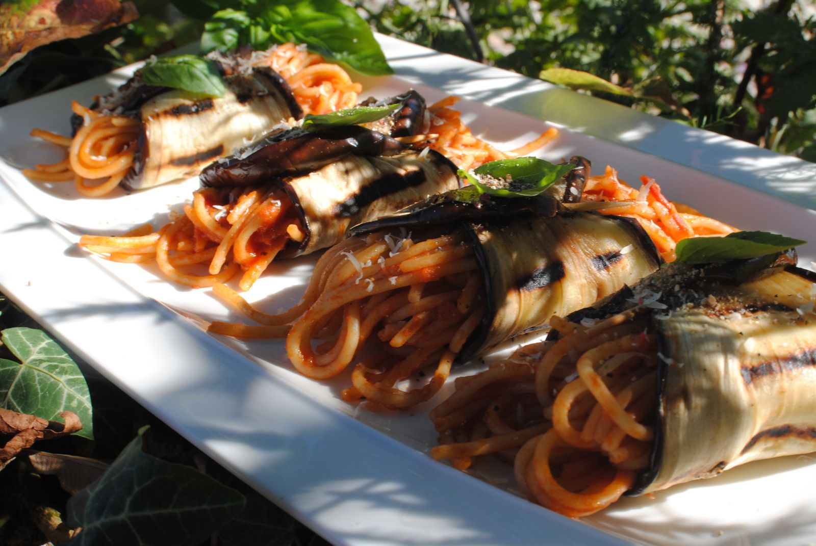 Cannoli d'aubergines aux spaghettis complet  :
