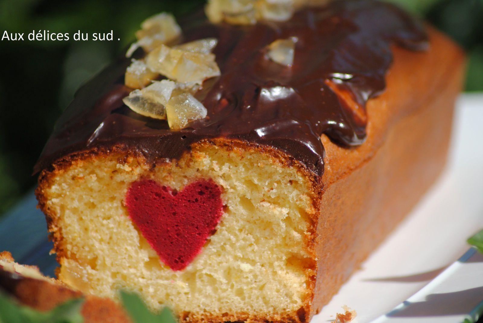 Cake surprise , citron et chocolat .