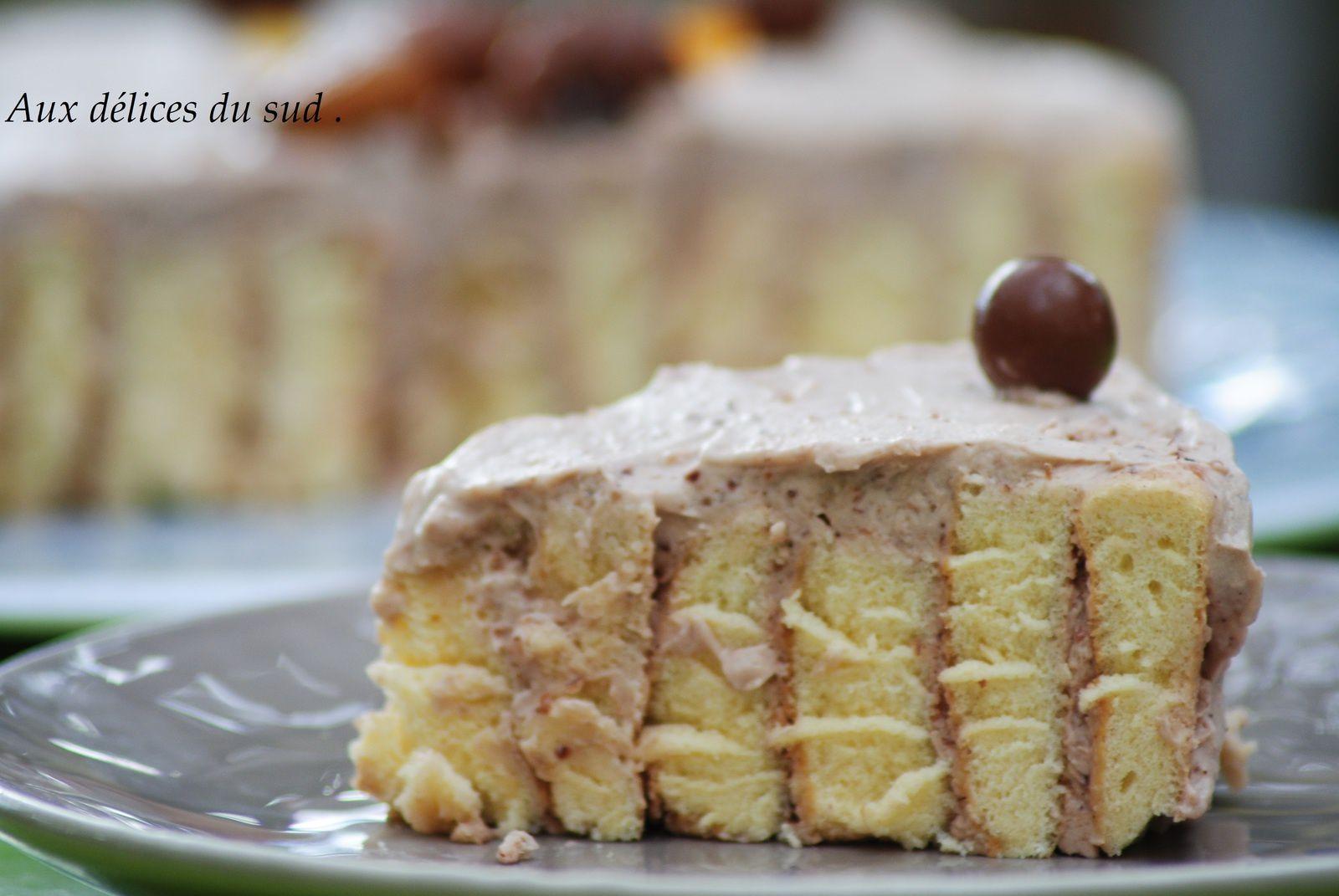 Gâteau roulé à la mousse de châtaignes .