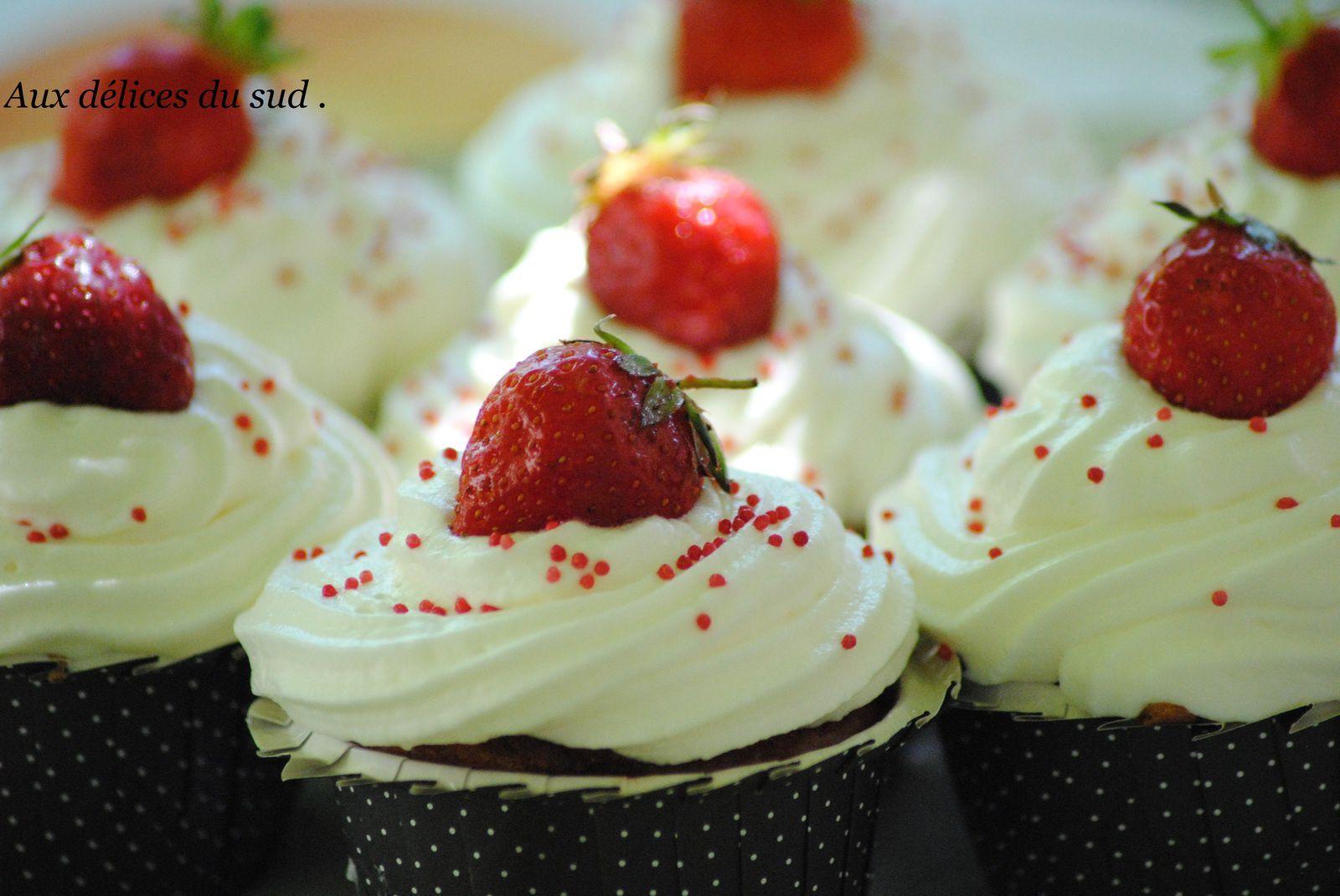 Cupcakes aux fraises  .