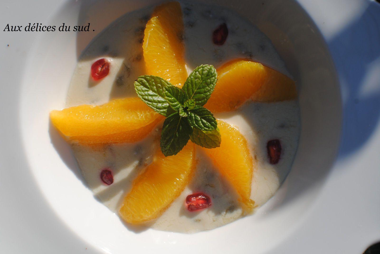 Salade d'oranges -grenade -coco-passion .