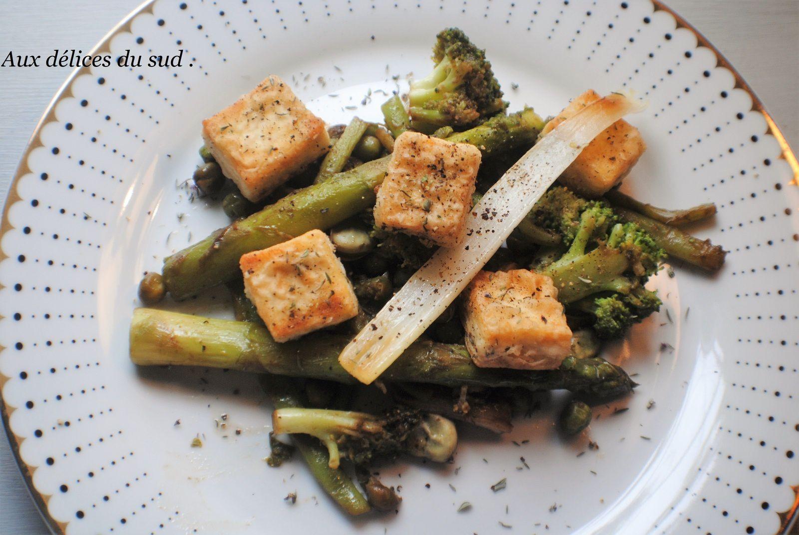 Sauté de tofu aux petits légumes  verts  de printemps
