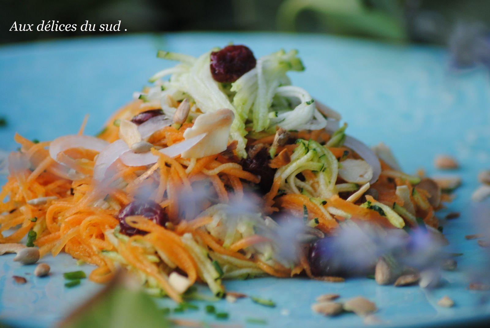 Salade de carottes et courgettes aux amandes et graines de tournesol .
