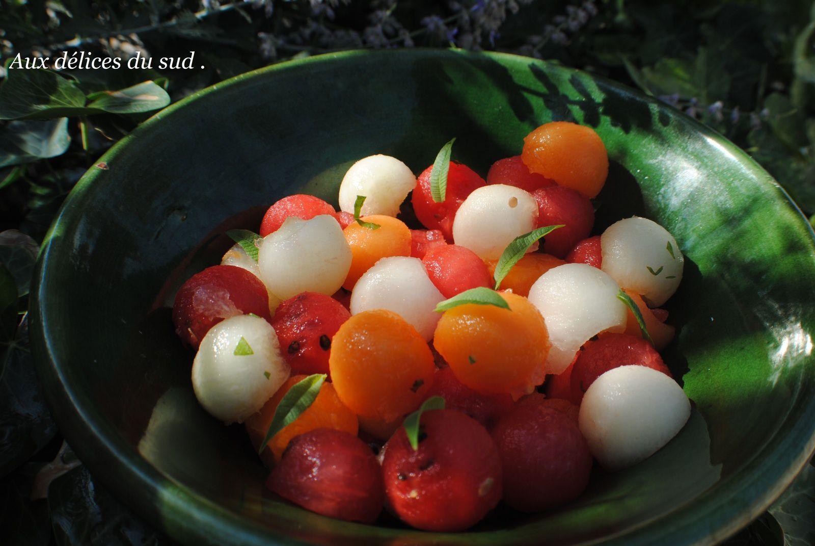 Salade fraicheur de melons à la verveine .