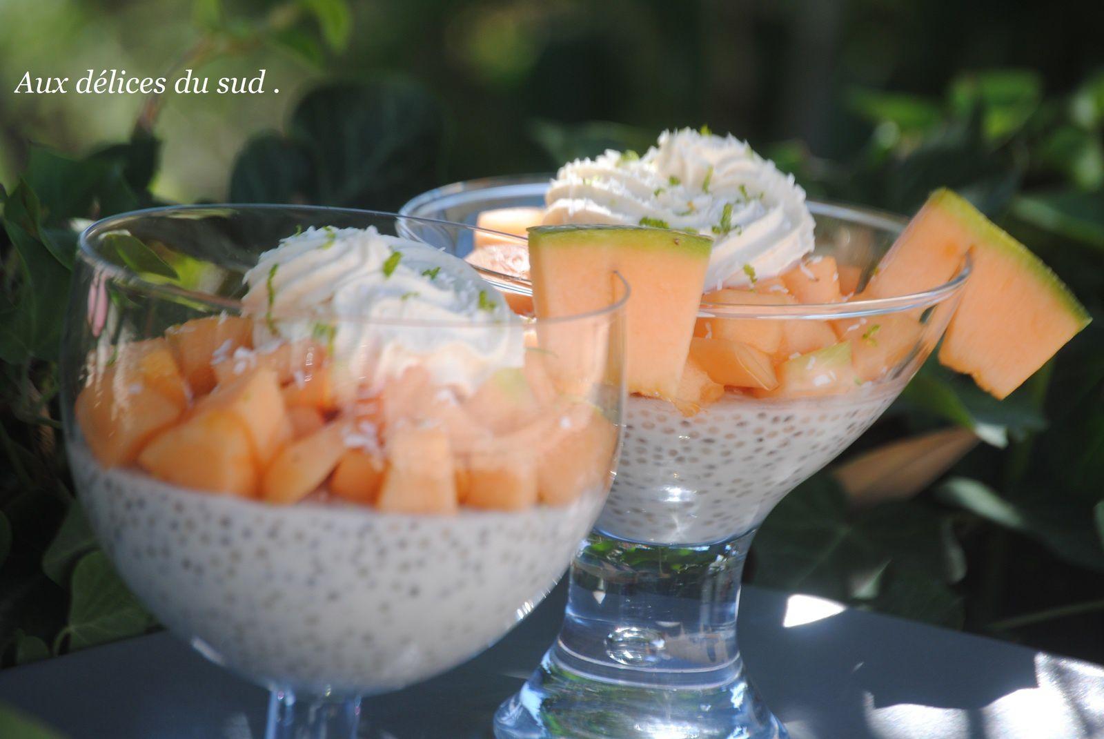 Verrines aux perles du Japon , graines de chia , melon,  coco , citron vert .