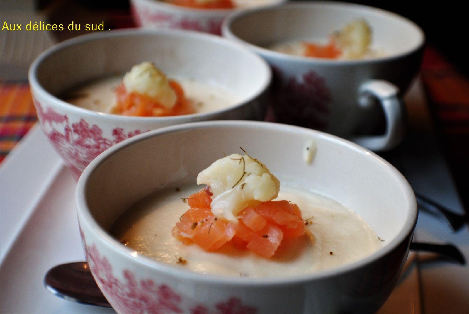 Panna cotta de chou fleur et saumon .