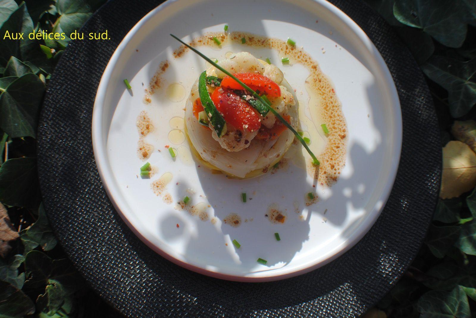 Timbales de poireaux aux légumes croquants .