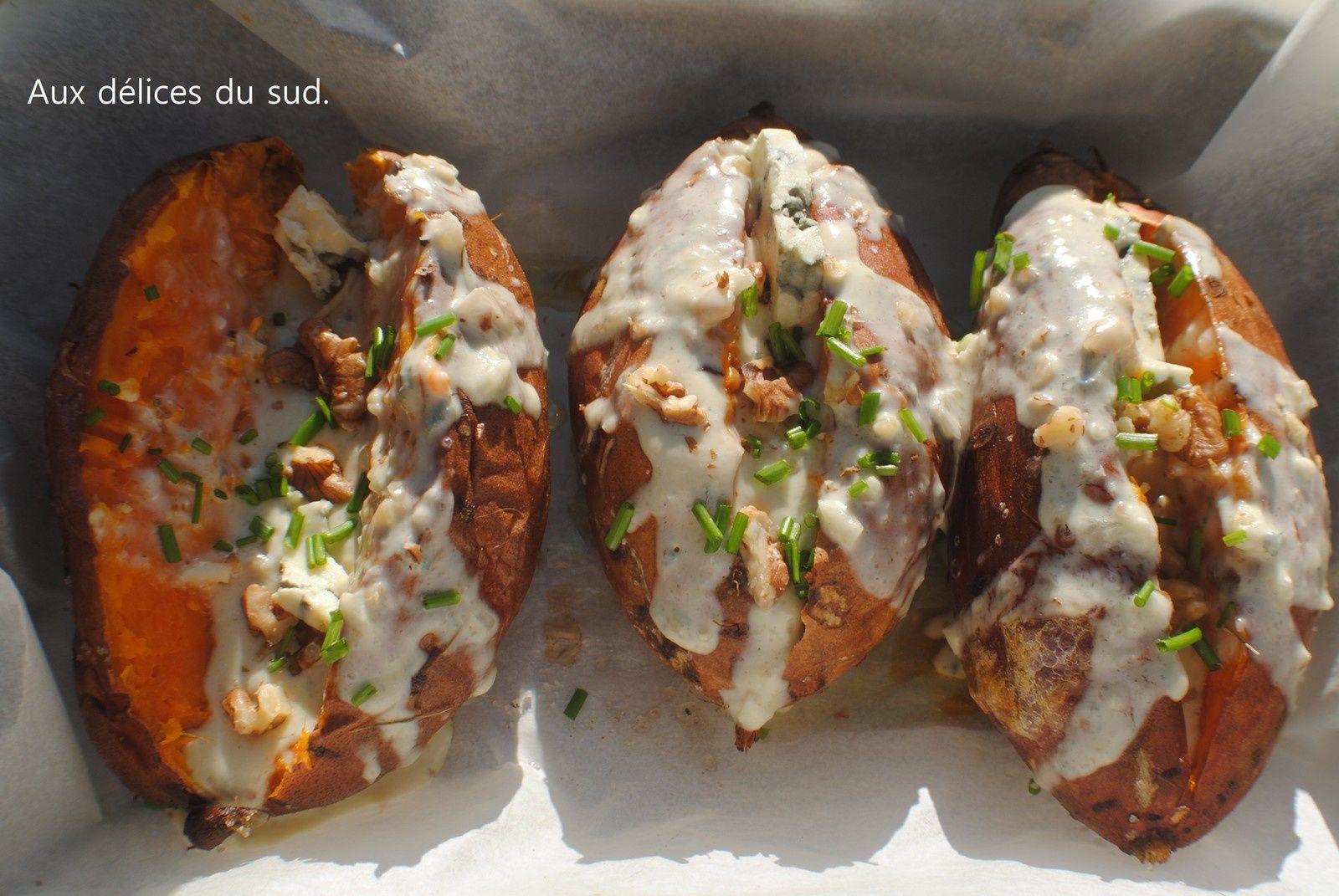 Patates douces farcies au roquefort et aux  noix .
