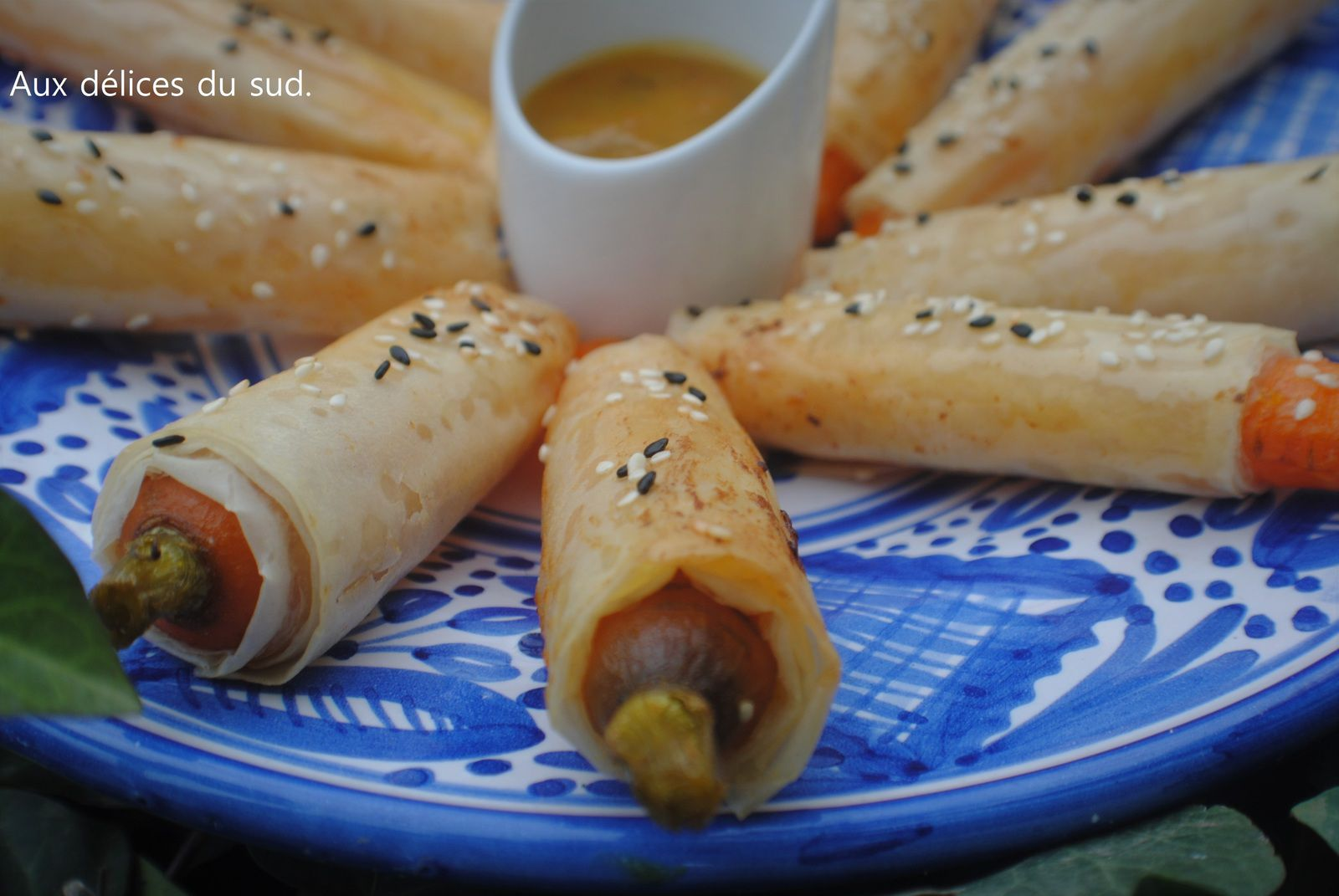 Carottes croustillantes et sauce à l'orange .