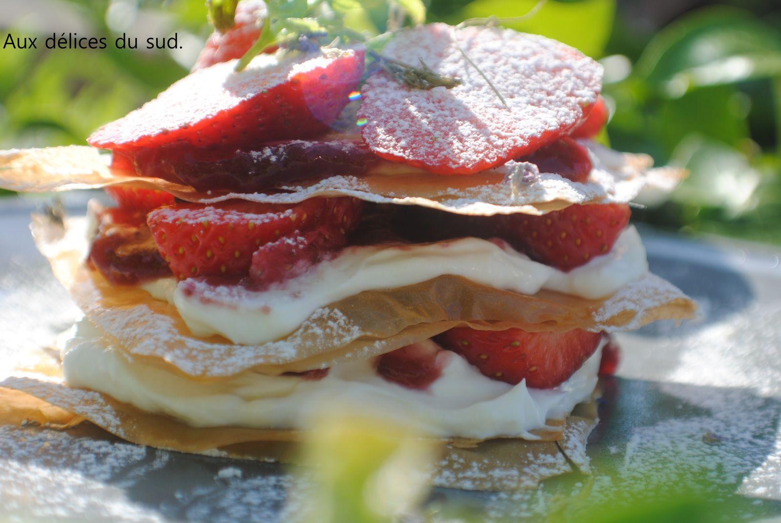 Millefeuilles aux fraises .