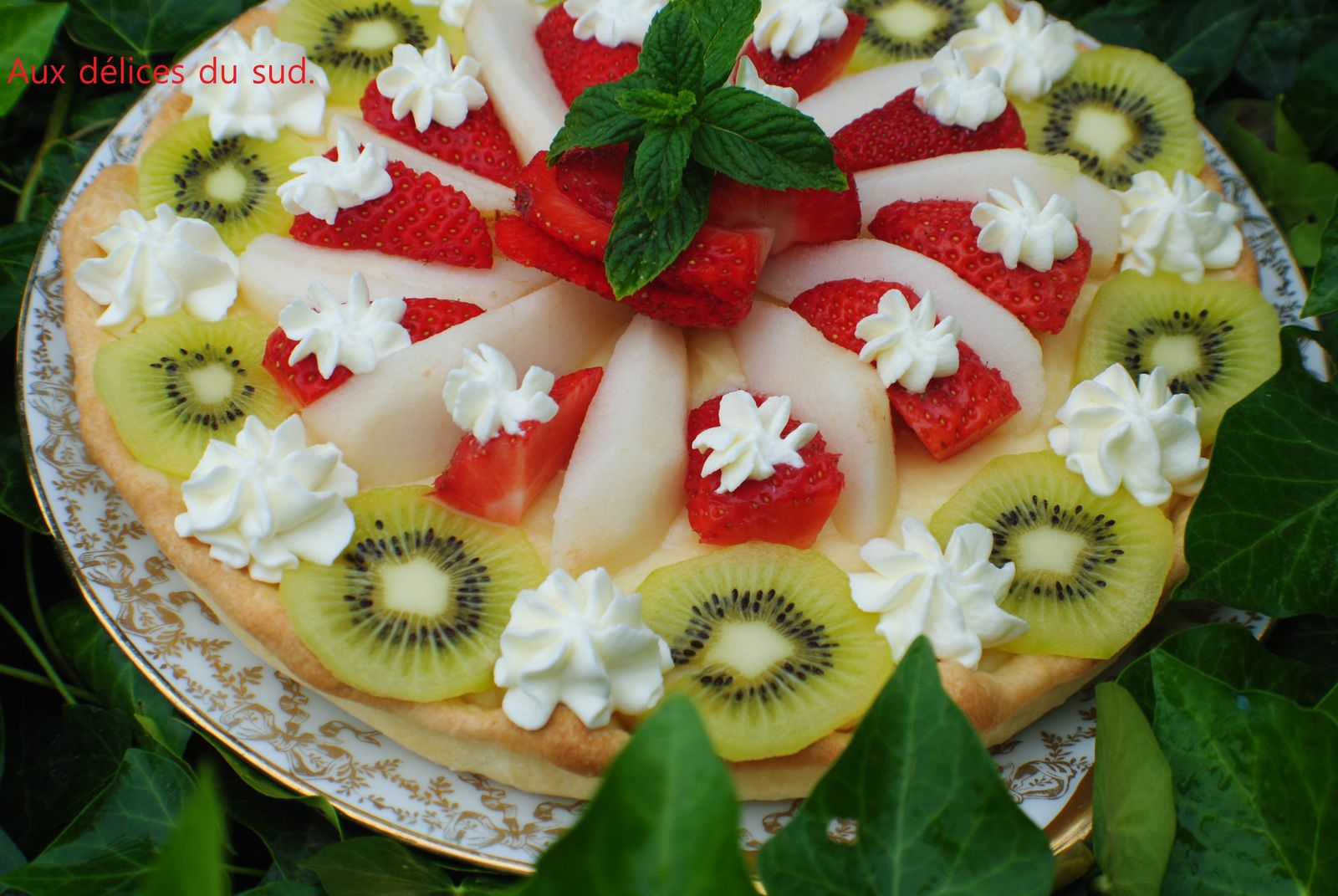 Tarte aux fruits .